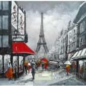 Modrest ADC8088 Paris Street Oil Painting On Canvas