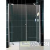 """Allure Frameless Pivot Shower Door and SlimLine 34"""" by 60"""" Single Threshold Shower Base Center Drain"""