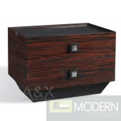 A&X Ebony Lacquered Finish Nightstand