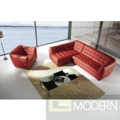 BO390 Burgundy leather sectional with chair