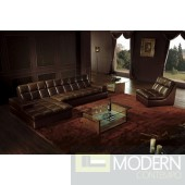 BO3935 Modern brown leather sectional sofa