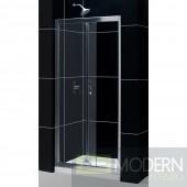 "Butterfly Frameless Bi-Fold Shower Door, 36"" by 36"" Single Threshold Shower Base and QWALL-5 Shower Backwall Kit"