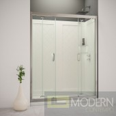 "Butterfly Frameless Bi-Fold Shower Door, 32"" by 60"" Single Threshold Shower Base Right Hand Drain and QWALL-5 Shower Backwall Kit"