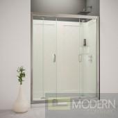 "Butterfly Frameless Bi-Fold Shower Door, 34"" by 60"" Single Threshold Shower Base Right Hand Drain and QWALL-5 Shower Backwall Kit"
