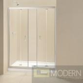 """Butterfly Frameless Bi-Fold Shower Door and SlimLine 34"""" by 60"""" Single Threshold Shower Base Center Drain"""