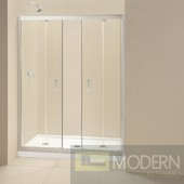 """Butterfly Frameless Bi-Fold Shower Door and SlimLine 34"""" by 60"""" Single Threshold Shower Base Left Hand Drain"""