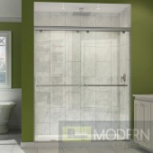 """Charisma 56 to 60"""" Frameless Bypass Sliding Shower Door, Clear 5/16"""" Glass Door, Brushed Nickel Finish"""