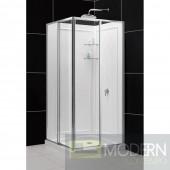 "Cornerview Framed Sliding Shower Enclosure, 36"" by 36"" Double Threshold Shower Base and QWALL-4 Shower Backwall Kit"