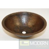 Round Undermount Copper Bath Sink in Antigua Finish