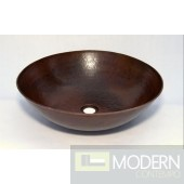 Round Copper Bath Vessel Sink in Antigua Finish