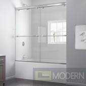 """Charisma 56 to 60"""" Frameless Bypass Sliding Tub Door, Clear 5/16"""" Glass Door, Brushed Nickel Finish"""