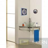 "Modern Glass 23"" Clear Simplicity Corner Vanity"