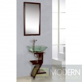 Mahogany Wood Base Petite Powder Room Vanity with Mirror and Sink