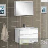Wall-Mounted Modern Bathroom Vanity - w/Porcelain Counter and Medicine Cabinet