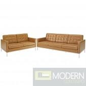 Loft Loveseat and Sofa Leather 2 Piece Set