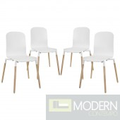 Stack Wood Dining Chairs Set of 4