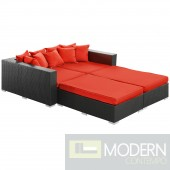 Convene 4 Piece Outdoor Patio Daybed RED
