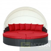 Quest Canopy Outdoor Patio Daybed RED