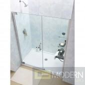 """Elegance Frameless Pivot Shower Door and SlimLine 34"""" by 60"""" Single Threshold Shower Base Center Drain"""