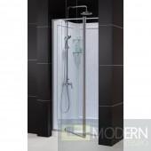 """Flex Frameless Pivot Shower Door, 32"""" by 32"""" Single Threshold Shower Base and QWALL-5 Shower Backwall Kit"""