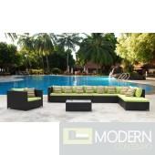 Garden 7-Piece Outdoor Rattan, Espresso with Green Cushions