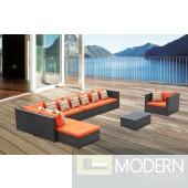 Garden 7-Piece Outdoor Rattan, Espresso with Orange Cushions