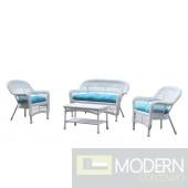 Portside White 4pc Outdoor Set Blue Cushion