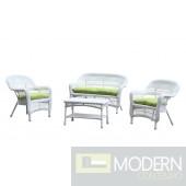Portside White 4pc Outdoor Set Green Cushion