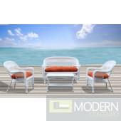 Portside White 4pc Outdoor Set Orange Cushion
