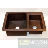 60/40 Split Undermount Copper Kitchen Sink