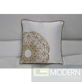 Modrest Transitional White and Gold Print Throw Pillow