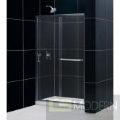 """Infinity-Z 44 to 48"""" Frameless Sliding Shower Door, Clear 1/4"""" Glass Door, Chrome Finish"""