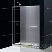 "Infinity-Z 56 to 60"" Frameless Sliding Shower Door, Frosted 1/4"" Glass Door, Brushed Nickel Finish"