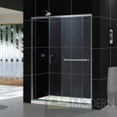 "Infinity-Z 56 to 60"" Frameless Sliding Shower Door, Clear 1/4"" Glass Door, Chrome Finish"