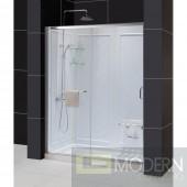 """Infinity-Z Frameless Sliding Shower Door, 32"""" by 60"""" Single Threshold Shower Base Center Drain and QWALL-5 Shower Backwall Kit"""