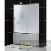 """Infinity-Z 56 to 60"""" Frameless Sliding Tub Door, Frosted 1/4"""" Glass Door, Brushed Nickel Finish"""