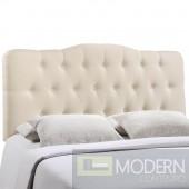 Annabel Queen Fabric Headboard Ivory