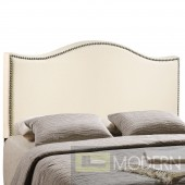 Curl Queen Nailhead Upholstered Headboard Ivory