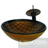 Brown and Gold Hand Painted Vessel Sink