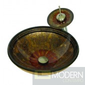 Multicolored Brown with Orange Center Painted Vessel