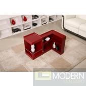 Modern End Table/Mini Bar P205B in Red Gloss