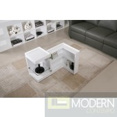 Modern End Table/Mini Bar P205B in White Gloss