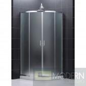 "Prime 34 3/8"" by 34 3/8"" Frameless Sliding Shower Enclosure, Base and QWALL-4 Shower Backwall Kit"