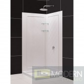 """SlimLine 32"""" by 32"""" Double Threshold Shower Base and QWALL-4 Shower Backwall Kit"""