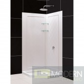 """SlimLine 40"""" by 40"""" Neo Shower Floor and QWALL-4 Shower Backwall Kit"""