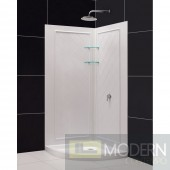 """SlimLine 33"""" by 33"""" Quarter Round Shower Base and QWALL-4 Shower Backwall Kit"""