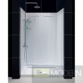 "SlimLine 36"" by 48"" Single Threshold Shower Base and QWALL-5 Shower Backwall Kit"