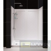 """SlimLine 34"""" by 60"""" Single Threshold Shower Base Right Hand Drain and QWALL-5 Shower Backwall Kit"""