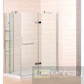 "60"" x 32"" Frameless Shower Enclosure with Acrylic Shower Base including Shelving Feature in Chrome Finish - Middle Drain"