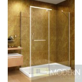"60"" x 35"" Shower Enclosure with Acrylic Shower Base in Chrome Finish, 8mm Glass - Left Hand Drain"